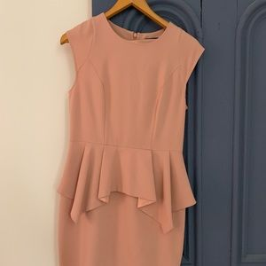 Blush pink Top Shop peplum party dress